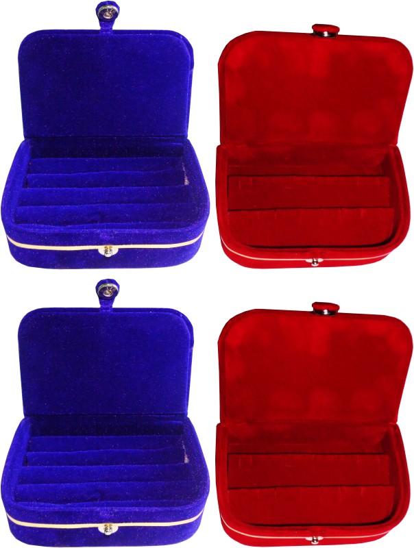 Funkroo combo deal 2pc blue ring box & 2pc red earring vanity box Makeup Vanity Box(Multicolor)