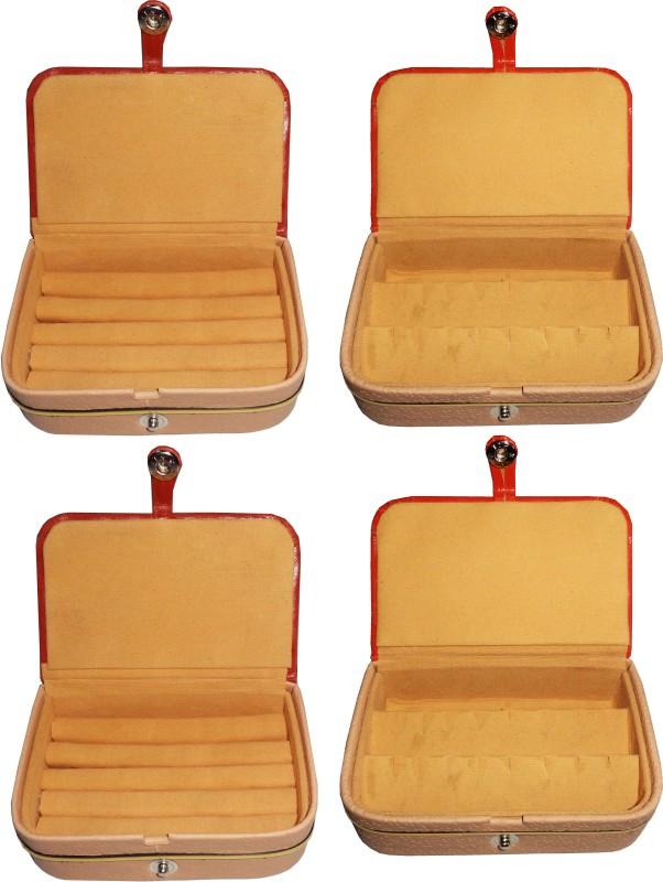 Funkroo combo deal 2pc brown ring box & 2pc brown earring vanity box Makeup Vanity Box(Multicolor)