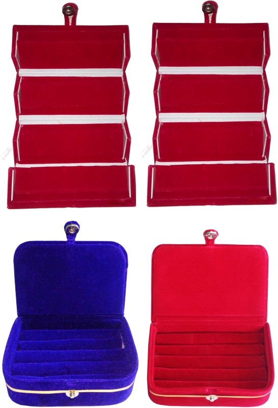 Funkroo Combo 2 pc red earring folder 1 red ear ring box and 1 pc blue ring box jewelry vanity box Makeup Vanity Box(Multicolor)