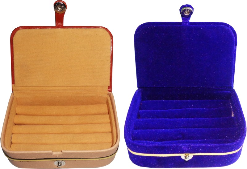 Funkroo combo deal blue ring box & brown ring vanity box Makeup Vanity Box(Multicolor)
