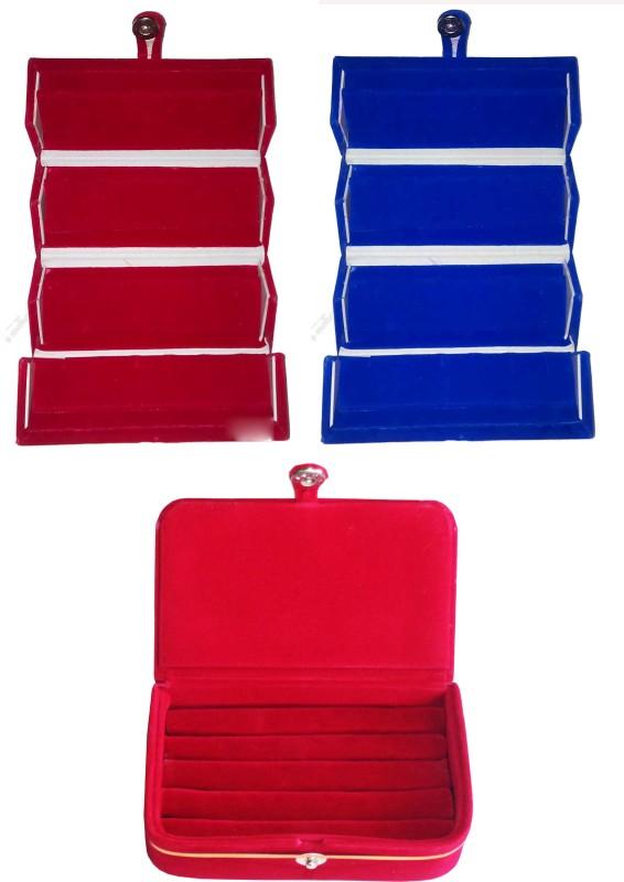 Funkroo Combo 1 pc red earring folder 1 pc blue ear ring folder 1 pc ring jewelry vanity box Makeup Vanity Box(Multicolor)