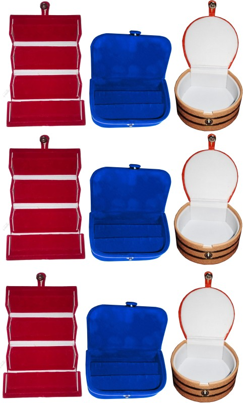 Funkroo Combo 3 pc red earring folder 3 blue ear ring box and 3 pc bangle box jewelry vanity case Makeup Vanity Box(Multicolor)