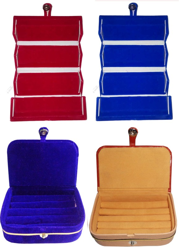 Funkroo Combo 1 pc blue earring folder 1 pc red ear ring box 1 pc blue ring box and 1 pc ring jewelry vanity box Makeup Vanity Box(Multicolor)