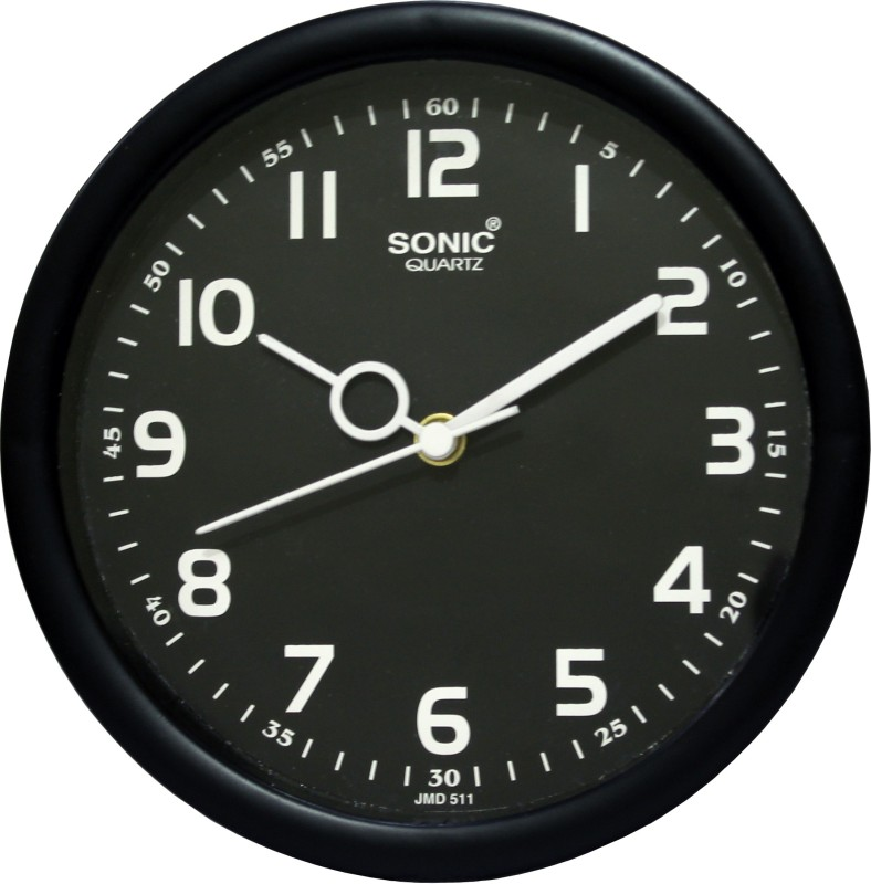 Sonic Analog 18 cm Dia Wall Clock(Black, With Glass)