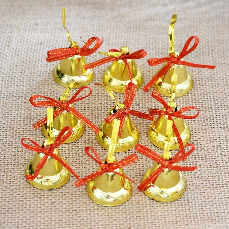 A To Z Traders Christmas Tree Hanging Decoration Golden Bells Ornamental Bells(Pack of 12)