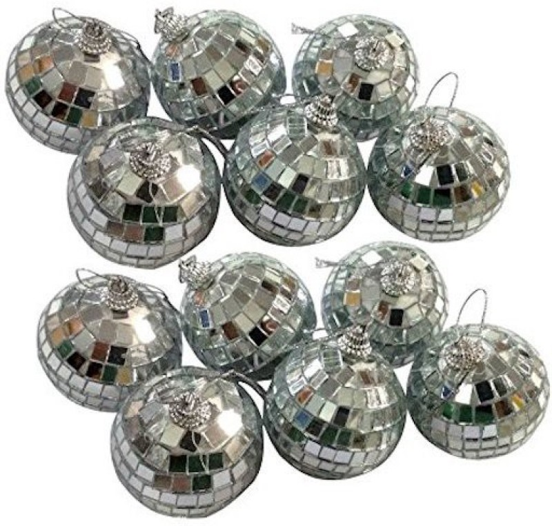 A To Z Traders Mirrored Glossy Balls for Christmas Tree Decoration Ornaments Hanging Ornaments(Pack of 12)