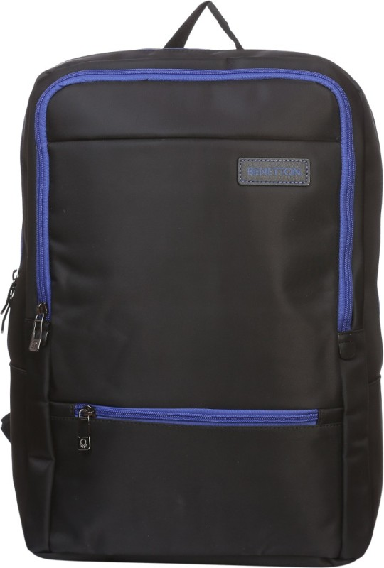 United Colors of Benetton Contrast Zip Office 23 L Backpack(Black)