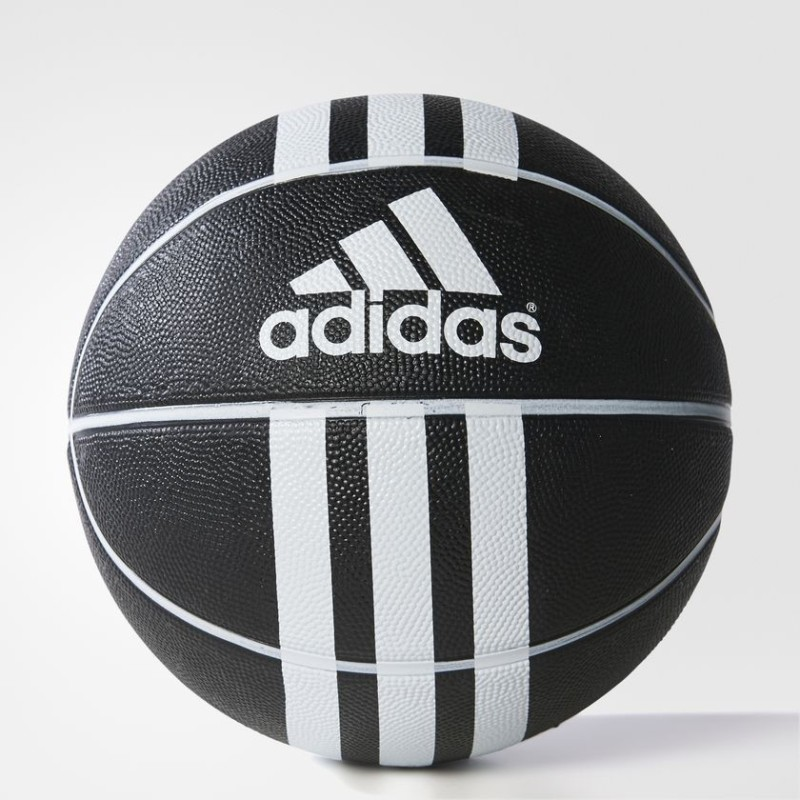 ADIDAS 3-STRIPES RUBBER X Black & White Basketball - Size: 7(Pack of 1, Black)