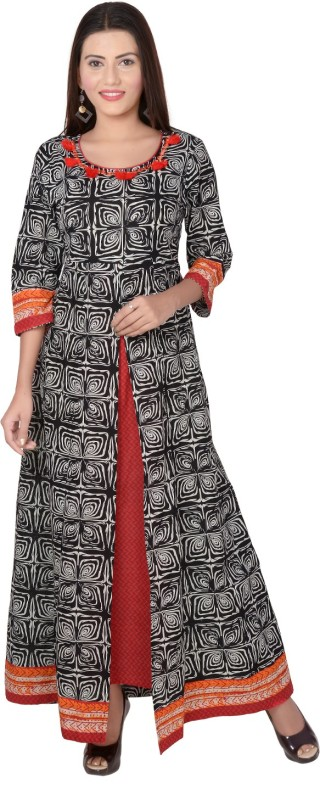 Metro Fashion Women's Printed Frontslit Kurta(Orange)