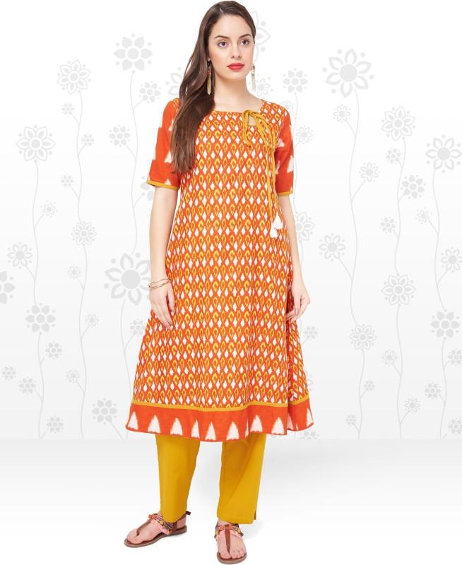 Anmi Women's Ikat A-line Kurta(Orange)