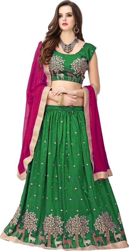 PURVA ART Embroidered, Self Design Lehenga Choli(Green)