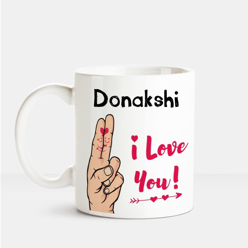Huppme I Love you Donakshi printed personalized coffee mug Ceramic Mug(350 ml)