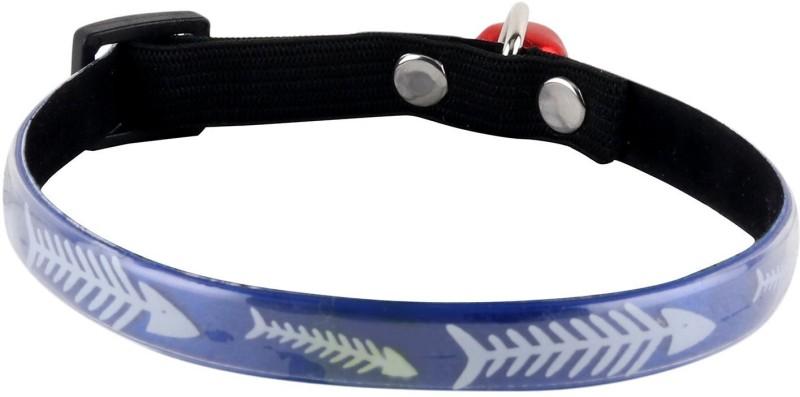 SRI High Quality Fish Bone Design Adjustable Glossy Collar For Puppy/Cat Cat Everyday Collar(Small, Blue)