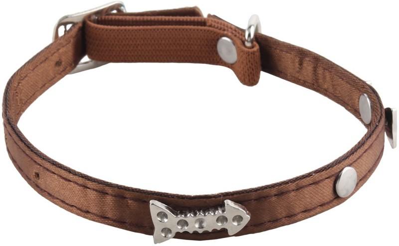 SRI High Quality Silver Fish Bone Design Collar With Bell For Puppy/Cat Cat Everyday Collar(Small, Brown)