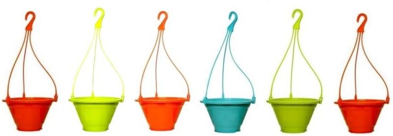 Truphe Garden Hanging Pot (Pack Of 6) - Multicolor Plant Container Set(Plastic)