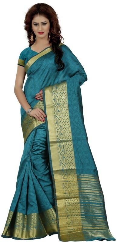 Trendz Style Self Design, Woven Fashion Jacquard Saree(Dark Green)