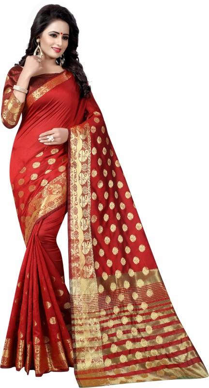 Saarah Woven Banarasi Banarasi Silk Saree(Brown)