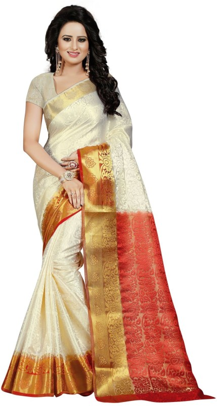 Saarah Self Design Phulia Tussar Silk Saree(Red)
