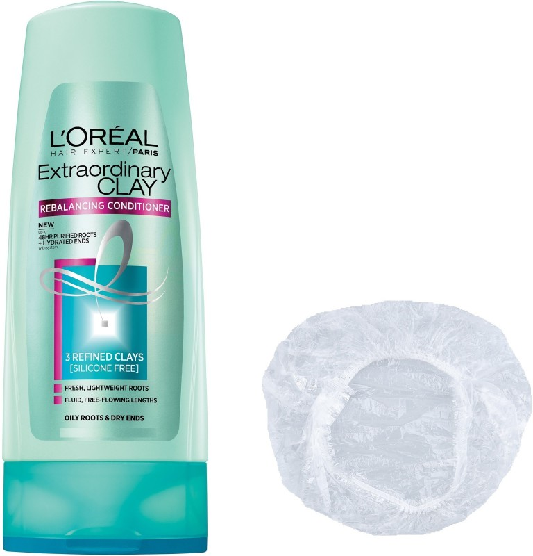 LOreal Extraordinary Clay Purifying & Hydrating Conditioner + Shower Cap(175 ml)