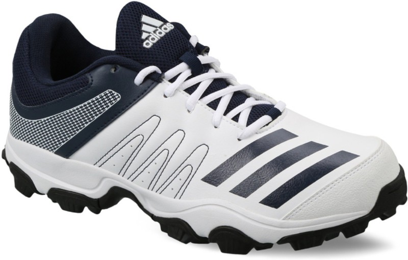 ADIDAS Howzatt IND Cricket Shoes For Men(White, Blue)