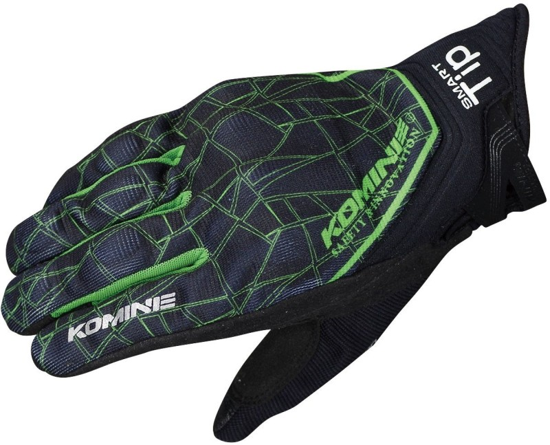KOMINE GK-191_BLACK_GREEN Riding Gloves (XXL, Multicolor)
