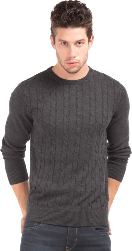 Nautica Woven Round Neck Casual Mens Black Sweater
