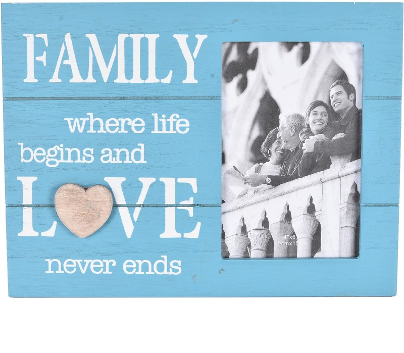 Scrafts decorative/antique wall hanging blue wooden Family Love photo frame for home /wall/bedroom/living room/office/lobby décor Sign(1)