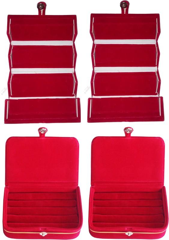 Funkroo Combo deal 2pc maroon earring folder and 2pc maroon ring vanity box Makeup Vanity Box(Red)