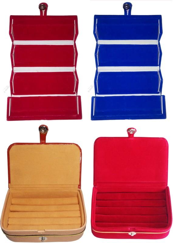 Funkroo Combo 1 pc blue earring folder 1 pc red ear ring box 1 pc red ring box and 1 pc ring jewelry vanity box Makeup Vanity Box(Multicolor)