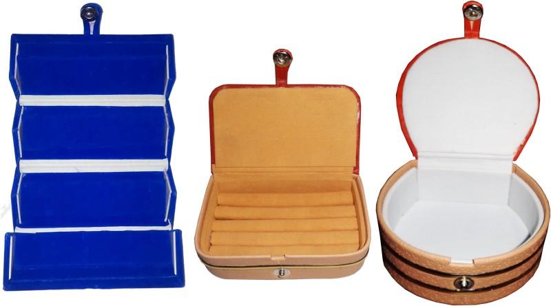 Funkroo Combo 1 pc blue earring folder 1 ear ring box and 1 pc bangle box jewelry vanity case Makeup Vanity Box(Multicolor)