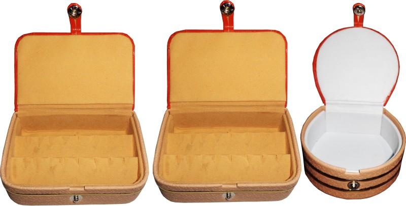 Funkroo Combo 1 pc earring box 1 pc ear ring folder 1 pc bangle box jewelry vanity case Makeup Vanity Box(Multicolor)