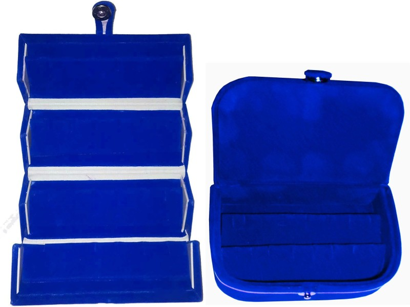 Funkroo Combo 1 pc blue earring folder and 1 pc blue ear ring box vanity case Makeup Vanity Box(Multicolor)