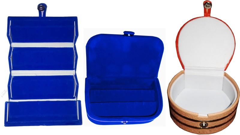 Funkroo Combo 1 pc blue earring folder 1 blue ear ring box and 1 pc bangle box jewelry vanity case Makeup Vanity Box(Multicolor)