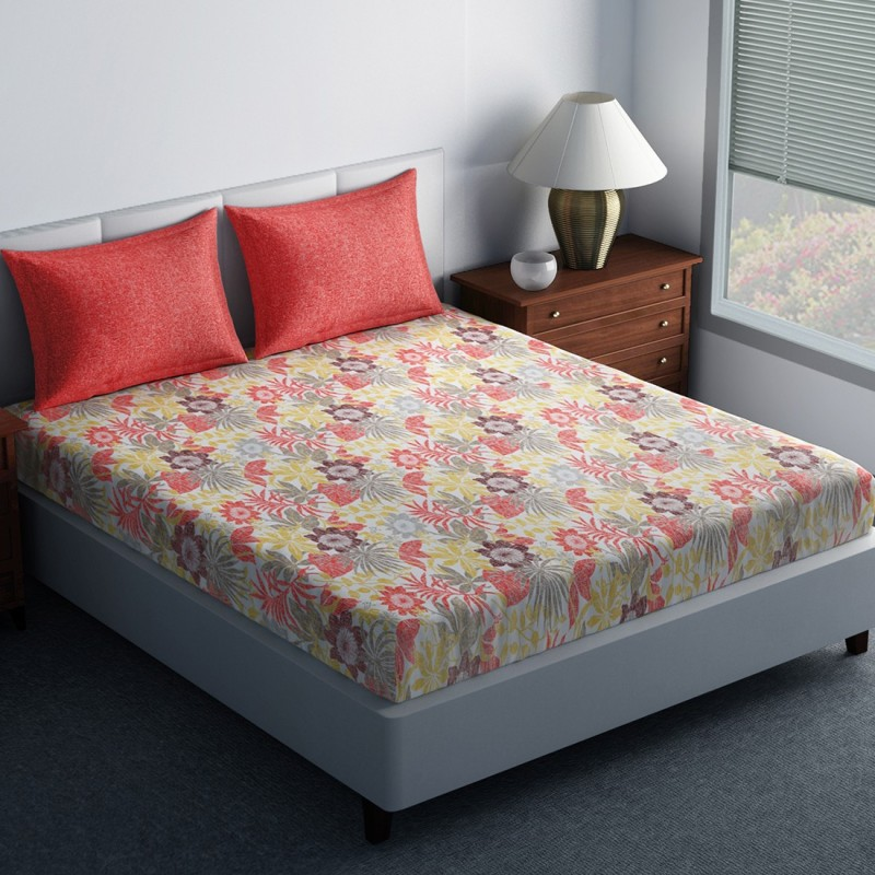 SPACES 144 TC Cotton Double King Floral Bedsheet(1N Double Bedsheet, 2N Pillow Covers, Red)