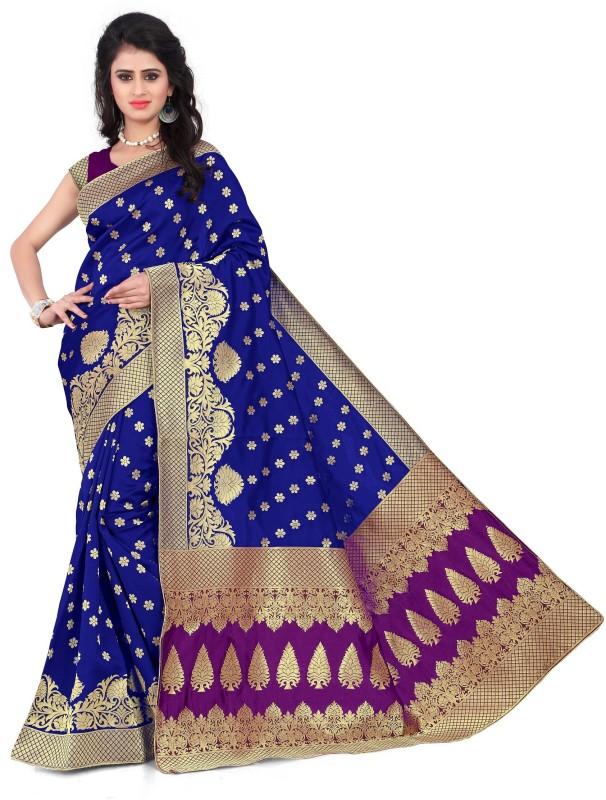 SNH Export Self Design, Printed Bollywood Jacquard Saree(Blue)