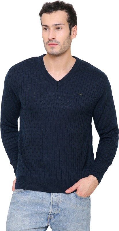 ManHood Self Design V-neck Casual Mens Dark Blue Sweater