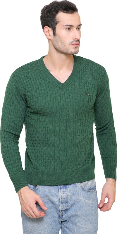 ManHood Self Design V-neck Casual Mens Green Sweater