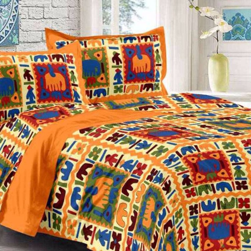 Saba Dream Collection 200 TC Cotton Double King Printed Bedsheet(Pack of 1, Multicolor)