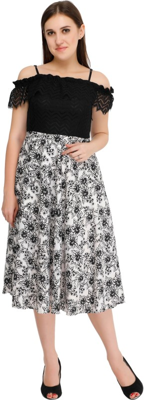 GROB MARCHE Women Fit and Flare Black, White Dress