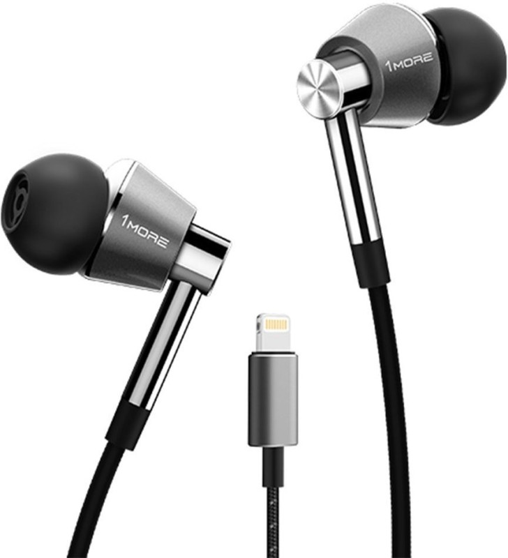 1More Triple Driver Lightning In-Ear Headphones (Earphones) In-built DAC( All iPhone, iPad, iPod) with Microphone and Control Remote Wired Headset...
