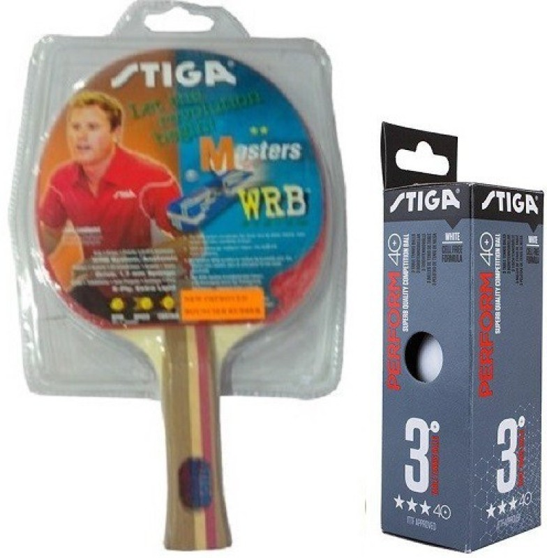 Stiga Combo Of Two, One Masters Table tennis Racquet and One Perform 40+ Ping Pong Ball Box (pack of 3)- Table Tennis Kit