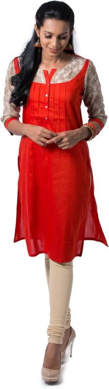Maybell Women's Self Design Straight Kurta(Pink)