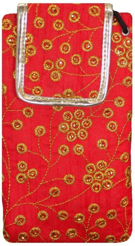 Bagaholics Ethnic Raw Silk Saree Clutch Waist Clip Ladies Pouch Mobile Pouch(Red)