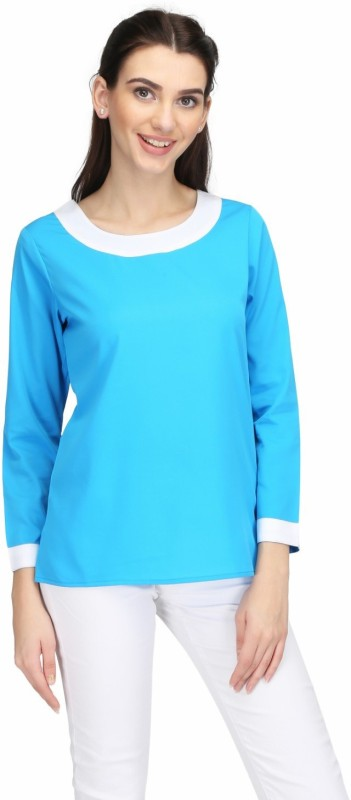 KARMIC VISION Casual Full Sleeve Solid Women's Blue Top