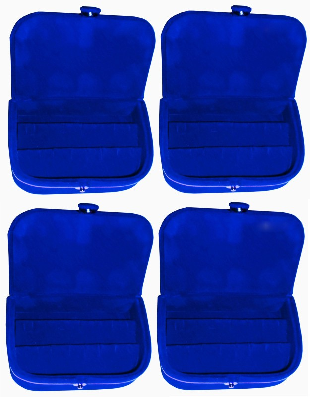 Funkroo Blue earring box ear ring vanity folder Pack of 4 Makeup Vanity Box(Blue)