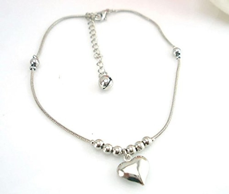 Ziory Ziory 1Pcs Silver Plated Heart Shaped Boho Beach Barefoot Sandals Anklet...