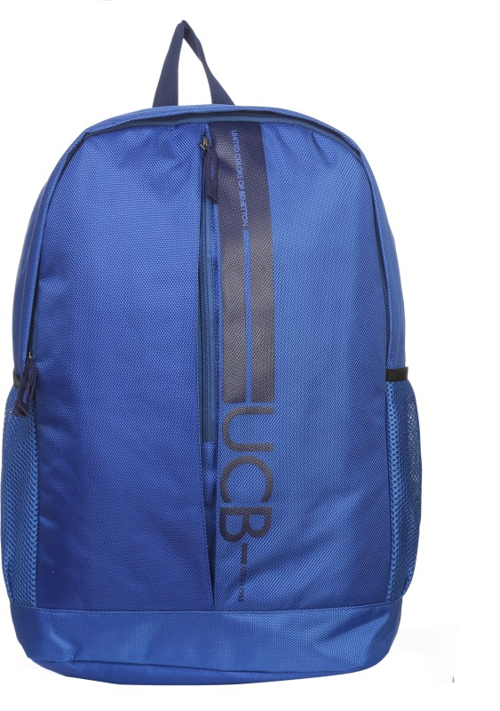 United Colors of Benetton Striper Print 17 L Backpack(Blue)