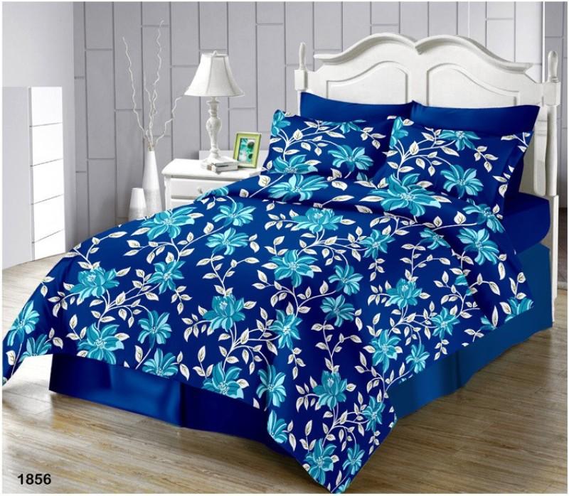 The Intellect Bazaar Queen Cotton Duvet Cover(Blue)