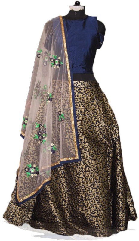 Fabcartz Self Design Semi Stitched Lehenga, Choli and Dupatta Set(Blue, Gold)