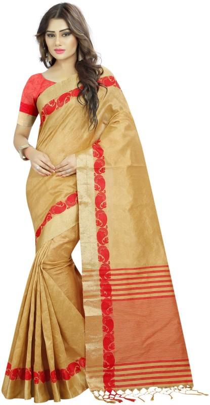 The Fashion Outlets Self Design Kanjivaram Tussar Silk Saree(Beige)